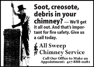 Soot, creosote, debris in your chimney?  Call All Sweep Chimney Service - Springfield Missouri - 417-888-0281